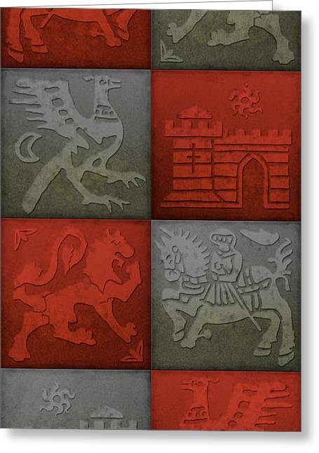 Knights Castle Paintings Greeting Cards - Medieval 8-Tile Collage Brick and Slate Greeting Card by S L Kellaway