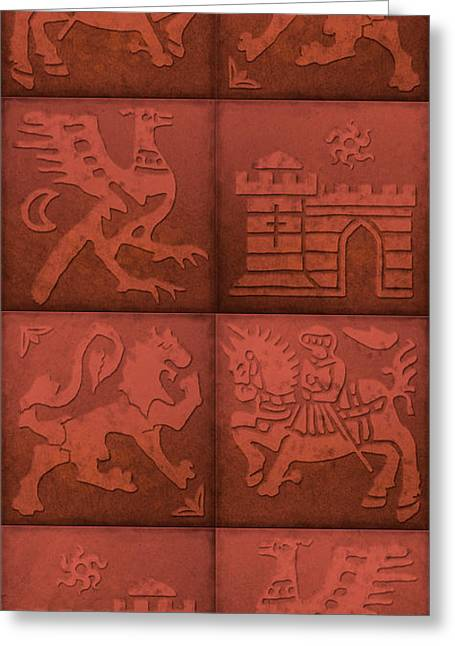 Knights Castle Paintings Greeting Cards - Medieval 8-Tile Collage Brick Greeting Card by S L Kellaway