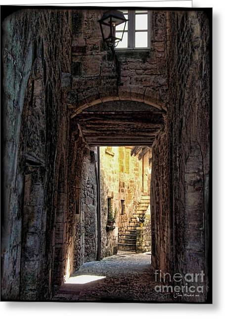 Minchak Greeting Cards - Medieval Alley Greeting Card by Joan  Minchak