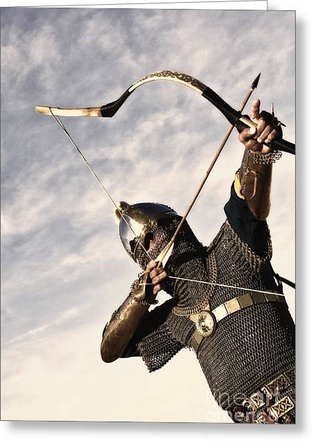 Saracen Greeting Cards - Medieval Archer Greeting Card by Holly Martin