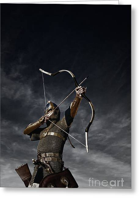 Horses In Print Greeting Cards - Medieval Archer II Greeting Card by Holly Martin