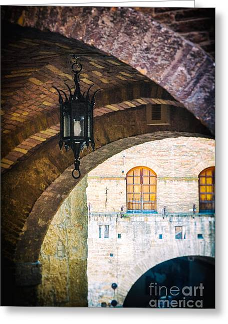 Old Street Greeting Cards - Medieval arches with lamp Greeting Card by Silvia Ganora