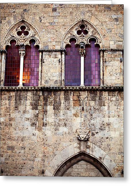 Siena Italy Greeting Cards - Medieval Architecture in Siena Italy Greeting Card by Kim Fearheiley
