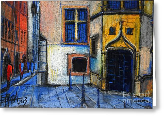 Peaches Pastels Greeting Cards - Medieval architecture in Vieux Lyon France Greeting Card by Mona Edulesco