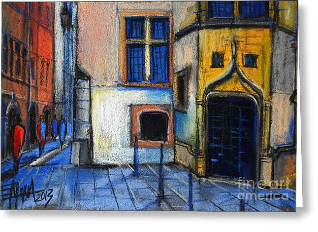 Urban Buildings Pastels Greeting Cards - Medieval architecture in Vieux Lyon France Greeting Card by Mona Edulesco
