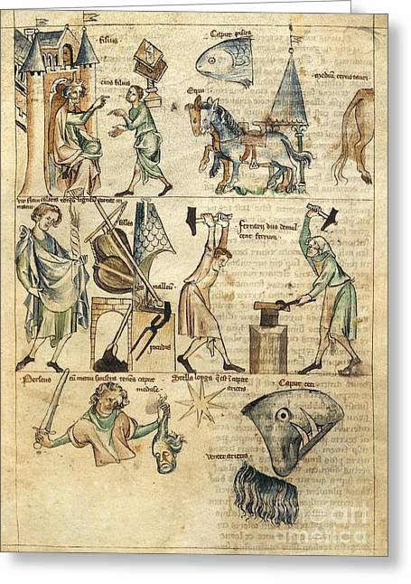 Beheading Photographs Greeting Cards - Medieval Astrology, 14th Century Greeting Card by British Library
