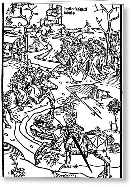 Medieval Battle Engraving Chronicon Pictum Greeting Card by
