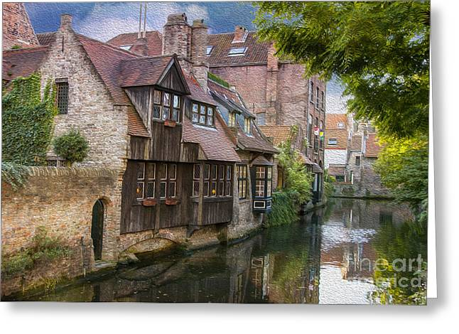 Waterways Greeting Cards - Medieval Bruges Greeting Card by Juli Scalzi