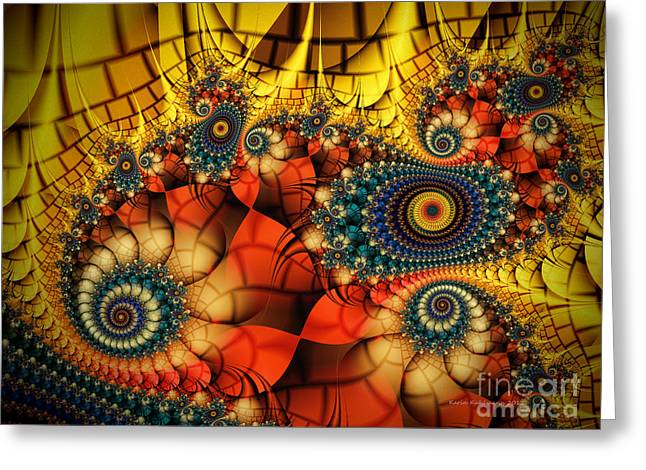 Medieval Ceremonial-fractal Art Greeting Card by Karin Kuhlmann