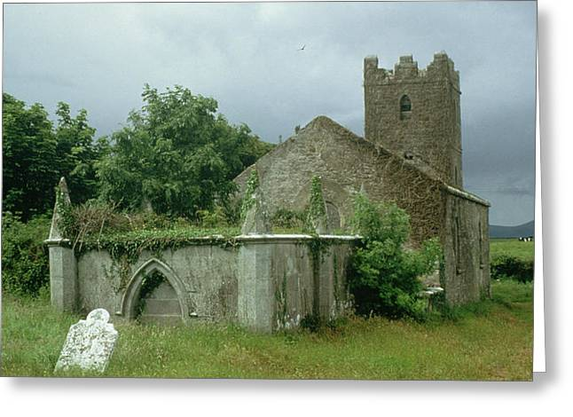 Medieval Buildings Greeting Cards - Medieval church and churchyard Greeting Card by Unknown