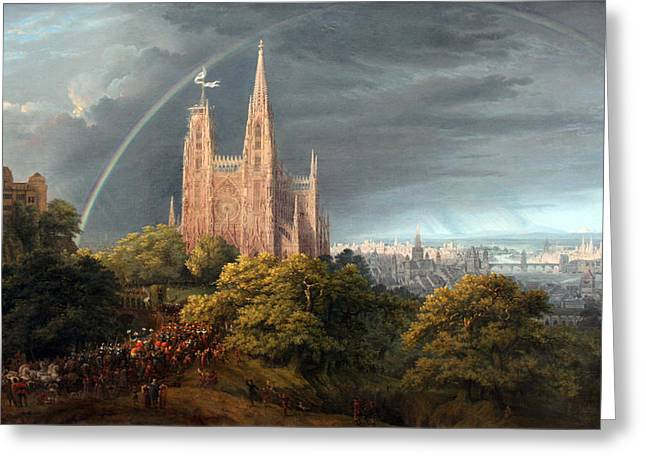 Karl Friedrich Schinkel Greeting Cards - Medieval city on a river Greeting Card by Celestial Images