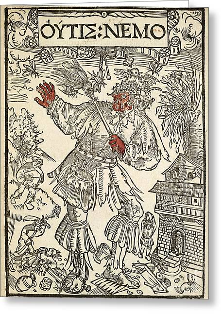 1518 Greeting Cards - Medieval Comic Poem, 16th Century Greeting Card by British Library