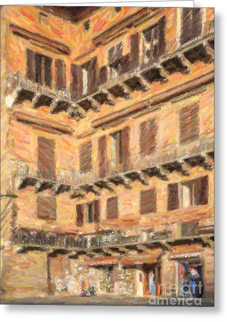 Tuscany Greeting Cards - Medieval corner in Siena Italy Greeting Card by Liz Leyden