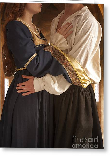 Gold Necklace Greeting Cards - Medieval Couple Embracing Greeting Card by Lee Avison