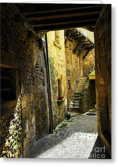Stones Greeting Cards - Medieval courtyard Greeting Card by Elena Elisseeva