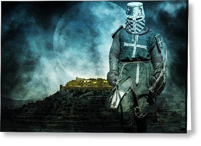 Aged Greeting Cards - Medieval crusader Greeting Card by Jaroslaw Grudzinski