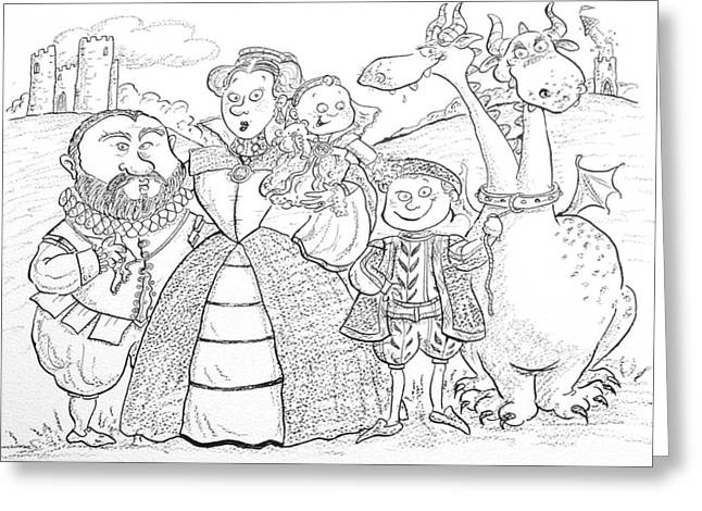 Ruff Greeting Cards - Medieval Family Portrait Ink & Crayon Paper Greeting Card by Maylee Christie