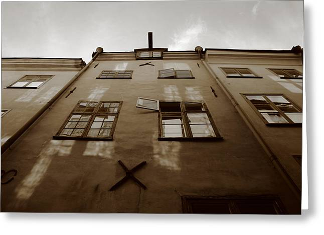 Buildings And Narrow Lanes Greeting Cards - Medieval house with open window - sepia Greeting Card by Intensivelight