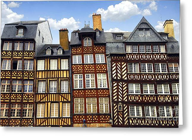 Tilted Greeting Cards - Medieval houses in Rennes Greeting Card by Elena Elisseeva