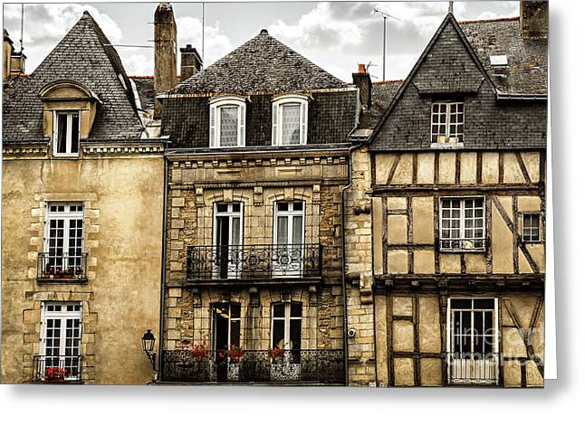 European City Greeting Cards - Medieval houses in Vannes Greeting Card by Elena Elisseeva