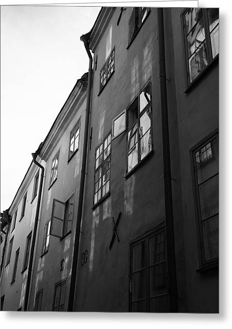 Buildings And Narrow Lanes Greeting Cards - Medieval houses - monochrome Greeting Card by Intensivelight