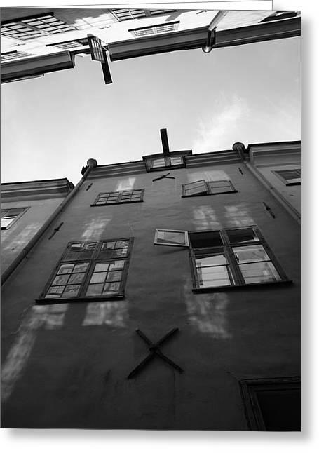 Buildings And Narrow Lanes Greeting Cards - Medieval houses seen from below - monochrome Greeting Card by Intensivelight