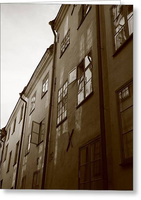 Buildings And Narrow Lanes Greeting Cards - Medieval houses - sepia Greeting Card by Intensivelight