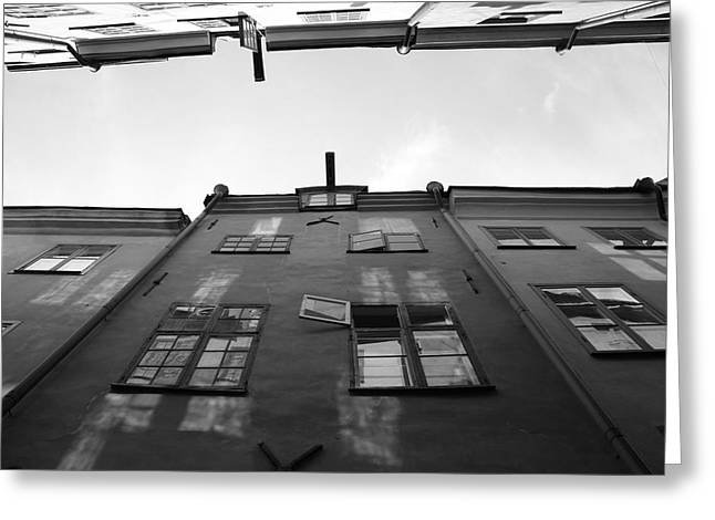 Buildings And Narrow Lanes Greeting Cards - Medieval houses with open window - monochrome Greeting Card by Intensivelight