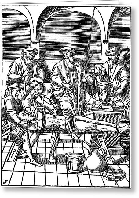 Medieval Inquisition Water Torture Greeting Card by Photo Researchers