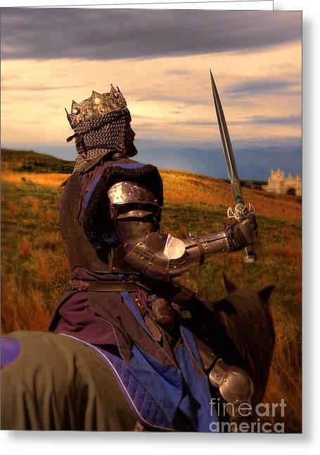 British Royalty Greeting Cards - Medieval King on Horseback Greeting Card by Jill Battaglia