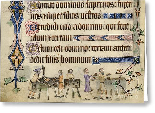 Table Wine Greeting Cards - Medieval Kitchen, Luttrell Psalter Greeting Card by British Library