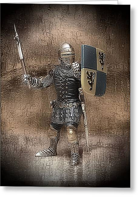 Miniature Mixed Media Greeting Cards - Medieval Knight Greeting Card by Aaron Berg