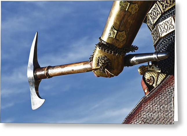 Saracen Greeting Cards - Medieval Knight and Axe Greeting Card by Holly Martin