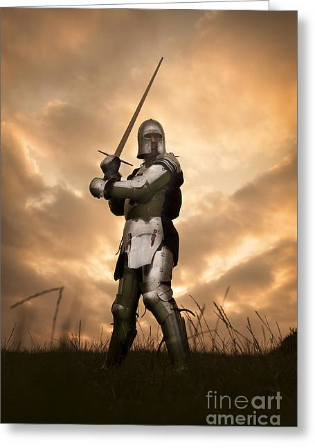 Atmoshperic Greeting Cards - Medieval Knight In Armour Greeting Card by Lee Avison