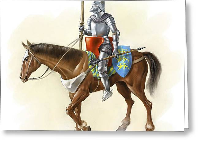 Chain Mail Greeting Cards - Medieval Knight On Horseback, Artwork Greeting Card by Jose Antonio Pe??as