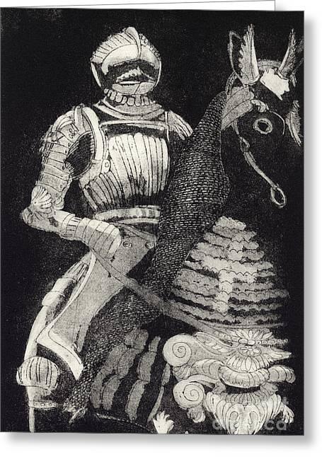 Chevalier Drawings Greeting Cards - Medieval Knight on Horseback - Chevalier - Caballero - Cavaleiro - Fidalgo - Riddare -Ridder -Ritter Greeting Card by Urft Valley Art