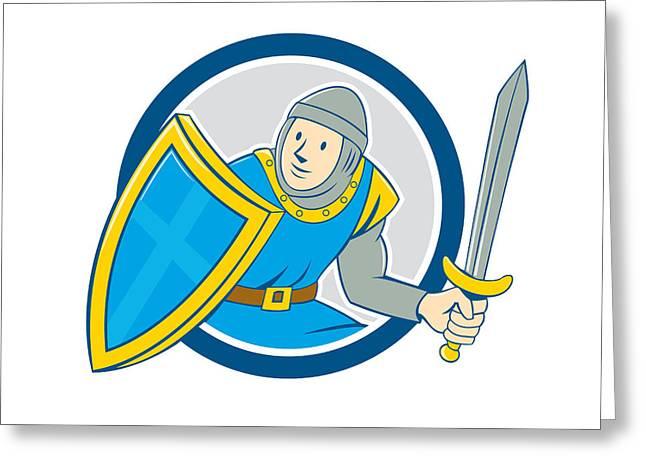 Sword Cartoon Greeting Cards - Medieval Knight Shield Sword Circle Cartoon Greeting Card by Aloysius Patrimonio