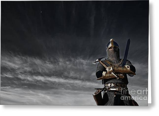 Saracen Greeting Cards - Medieval Knight with Sword and Axe Greeting Card by Holly Martin