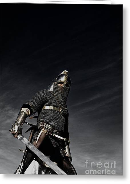 Horses In Print Greeting Cards - Medieval Knight with Sword  Greeting Card by Holly Martin