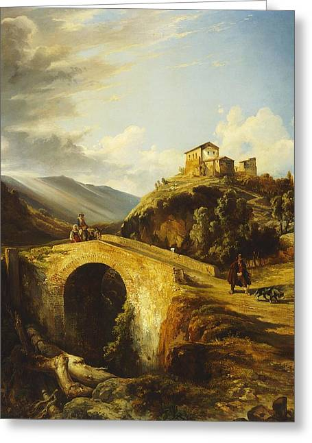 Neapolitan Greeting Cards - Medieval Landscape Greeting Card by Gonsalvo Carelli