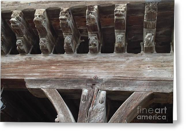 Wooden Sculpture Greeting Cards - Medieval Market Place  Greeting Card by France  Art