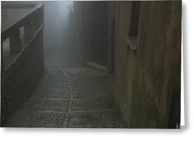 Erice Greeting Cards - Medieval Mist Greeting Card by Barry Fineberg