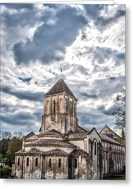 Paris Greeting Cards - Medieval Monastery Under Swirling Clouds Greeting Card by Nila Newsom