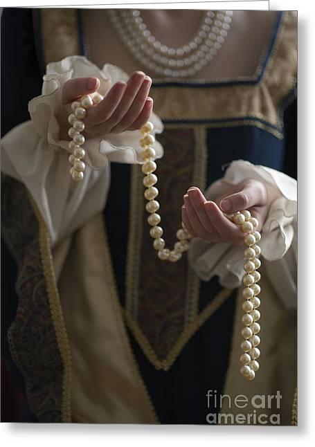 Gold Necklace Greeting Cards - Medieval Or Tudor Woman Holding A Pearl Necklace Greeting Card by Lee Avison