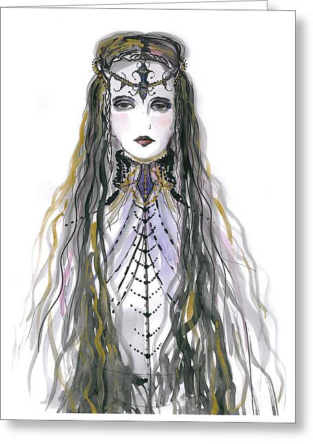Camelot Drawings Greeting Cards - Medieval Princess Greeting Card by Marian Voicu