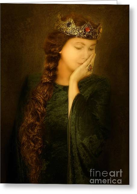 Maiden Greeting Cards - Medieval Queen Greeting Card by Jill Battaglia