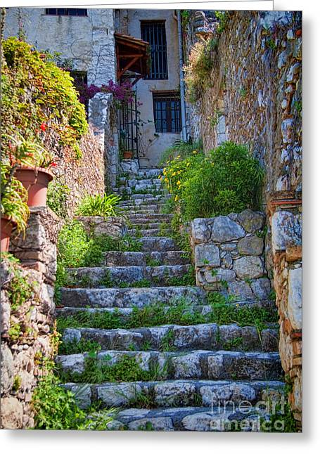 French Doors Greeting Cards - Medieval Saint Paul de Vence 1 Greeting Card by David Smith