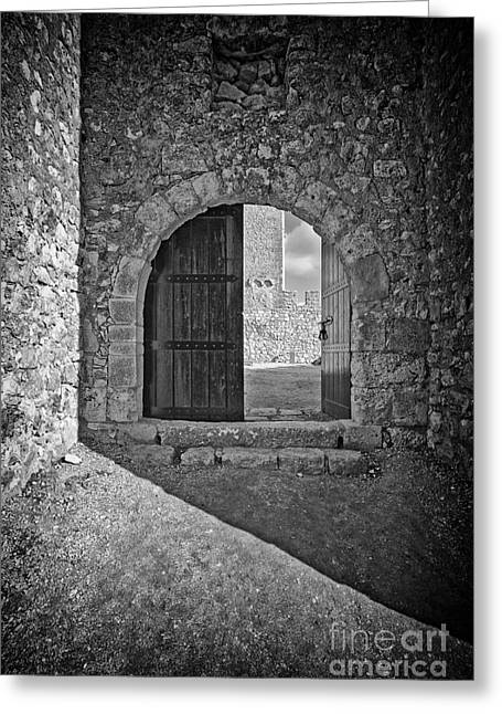 Medieval Entrance Photographs Greeting Cards - Medieval Sesimbra castle gate Greeting Card by Jose Elias - Sofia Pereira