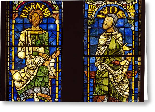 Medival Greeting Cards - Medieval stained glass  Greeting Card by John Gaffen