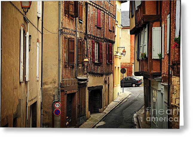 Red Buildings Greeting Cards - Medieval street in Albi France Greeting Card by Elena Elisseeva
